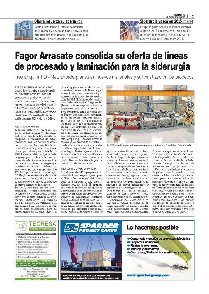 Fagor Arrasate event: Fagor Arrasate consolidates its offer of Processing and Rolling Lines for metalworking.