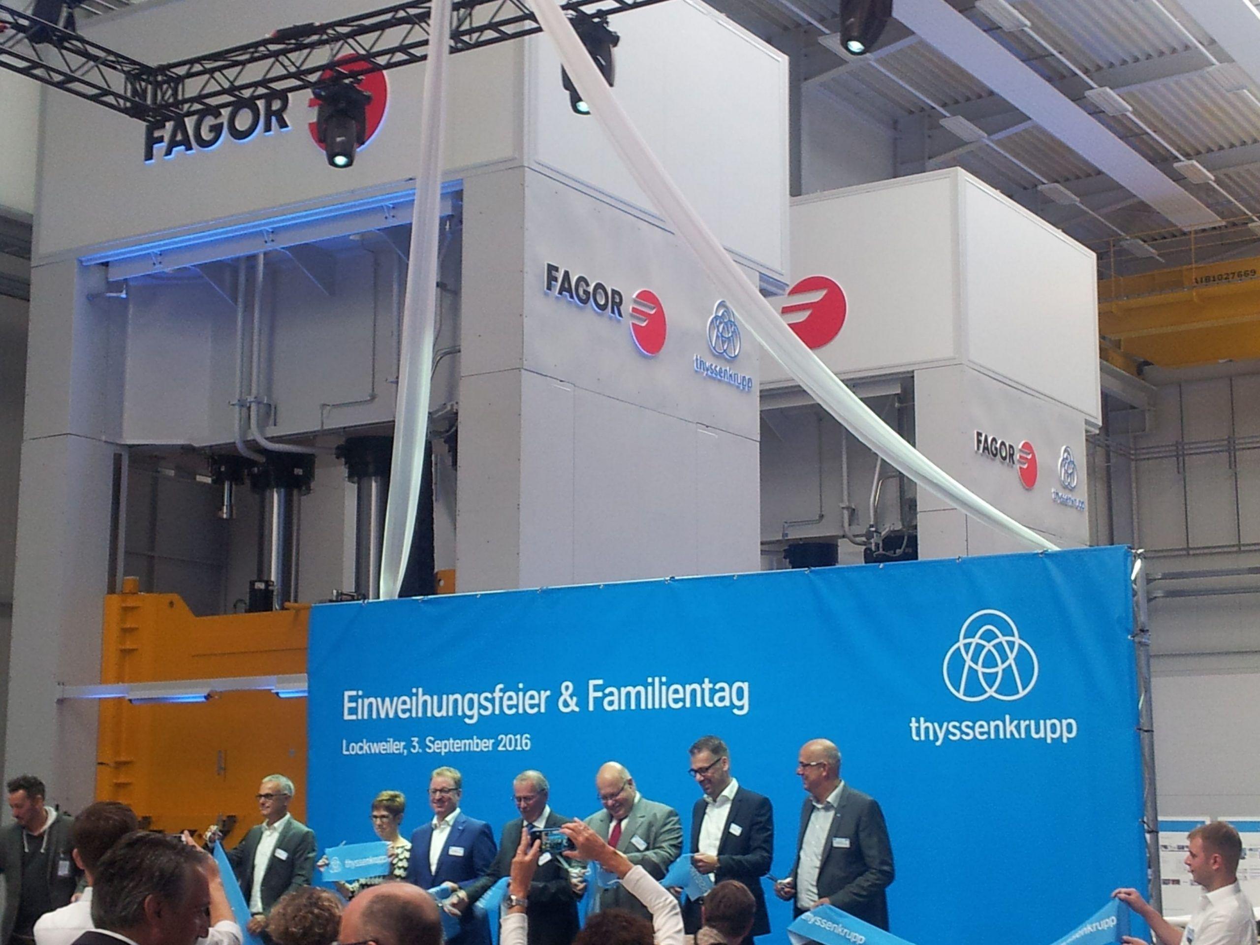 Fagor Arrasate event: THYSSENKRUPP SYSTEM ENGINEERING  felicita a FAGOR ARRASATE en la inauguración de su nueva planta