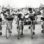 The FAGOR Team in the Tour de France helping one of its members to reach the finish line